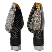 PEAK LED Blinker kurz / weisses Glas / Carbon-Look