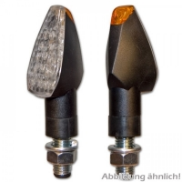 PEAK LED Blinker lang / schwarz / weisses Glas